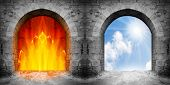 stock photo of gates heaven  - Two gates to heaven and hell - JPG