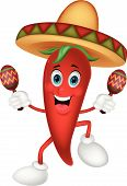 picture of maracas  - Happy chili pepper cartoon dancing with maracas - JPG
