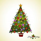 stock photo of asymmetrical  - Homespun Asymmetrical  hand decorated Pine Christmas  tree - JPG