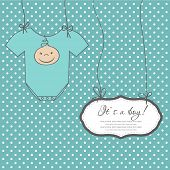 stock photo of bow-legged  - Baby boy arrival announcement card - JPG