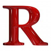 3d shiny red plastic ceramic uppercase letter - R