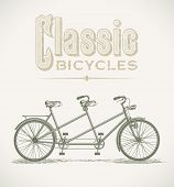 Vintage illustration with a classic tandem bicycle. Raster image. Find an editable version in my por