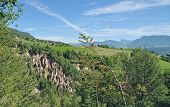 foto of south tyrol  - the famous Loam Pyramids at Ritten Mountain near Bolzano - JPG