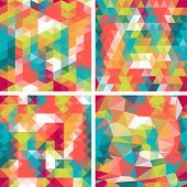 picture of parallelepiped  - Seamless triangle patterns in retro style - JPG