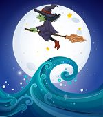 Постер, плакат: Иллюстрация ведьма выше гигантские волны
