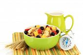 pic of lenten  - Oatmeal with fruits isolated on white - JPG