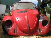 pic of beetle car  - old red beetle car end of the way - JPG