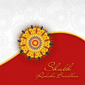 picture of rakshabandhan  - Indian festival background with beautiful rakhi and text Subh Raksha Bandhan  - JPG