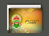 stock photo of onam festival  - South Indian festival Onam wishes background with Kathakali dancer - JPG