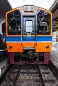 stock photo of railcar  - Diesel railcar for ordinary train in urban station - JPG