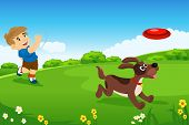image of frisbee  - A vector illustration of handsome little boy playing with his dog in the park - JPG