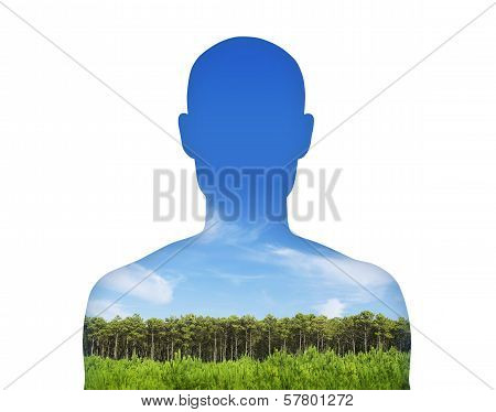 Man Breathing Clean Air
