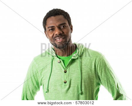 Portrait Of African American Cheerful Black Man Smiling Isolated On White Background