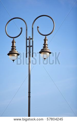 Lamp Post Against Clear Blue Sky