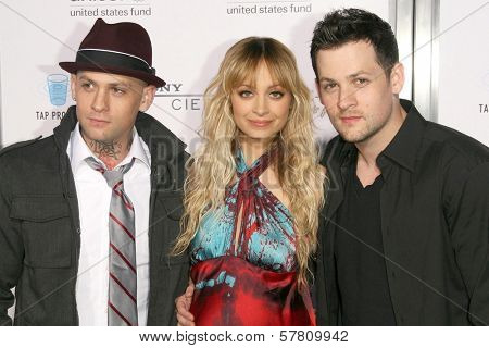 Benji Madden with Nicole Richie and Joel Madden  at the Sony Cierge and The Richie-Madden Children's Foundation UNICEF Benefit. Myhouse, Los Angeles, CA. 03-23-09