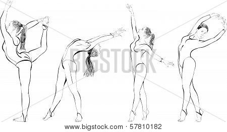 Silhouettes of female gymnasts