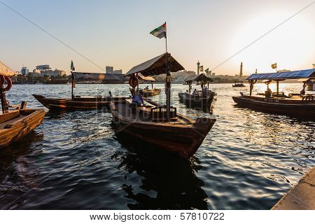 Boats On The Bay Creek In Dubai, Uae