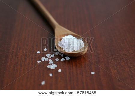 Sea Salt In Wooden Spoon Soft Focus