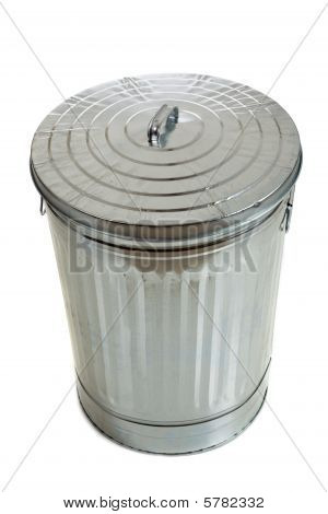 Silver Corrugated Trash Can On White