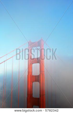 Detail Of Golden Gate Bridge In Fog