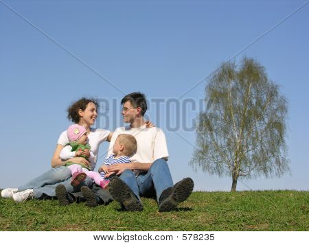 Family With Two Children. Spring