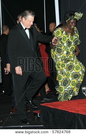 Al Gore and Wangari Muta Maathai in the press room at the 40th NAACP Image Awards. Shrine Auditorium, Los Angeles, CA. 02-12-09