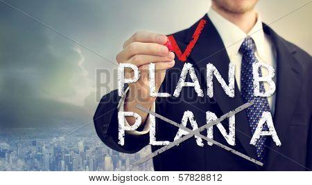 Businessman Checking Plan B