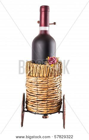 Bottle Of Red Wine In Wheeled Basket