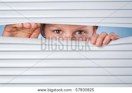No Privacy - Woman Peeking Through Blinds