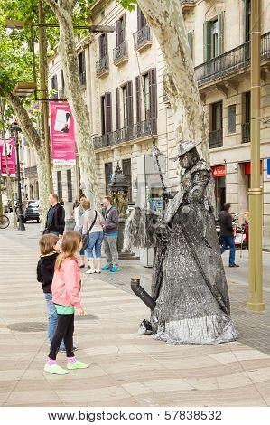 Street artist in La Rambla street of Barcelona