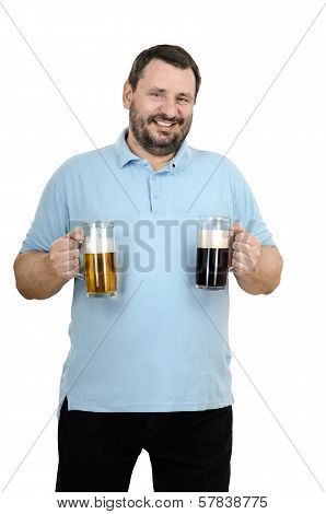 Bearded Man Holds Two Beer Mugs
