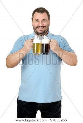 Happy Smiling Man Likes Light And Dark Beer