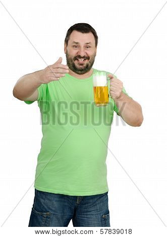 Man Stands With A Beer Mug