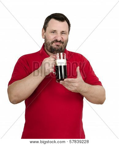 Happy Smiling Man Likes A Dark Beer