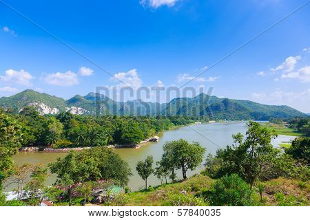 River Kwai Background Mountain ,kanchaburi Thailand