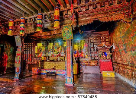 Inside View Of Silerygaon Monastery, Sikkim, India