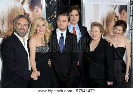 L-R Sam Mendes, Kate Winslet, Leonardo DiCaprio, Michael Shannon, Kathy Bates and Kathryn Hahn   at the World Premiere of 'Revolutionary Road'. Mann Village Theater, Westwood, CA. 12-15-08