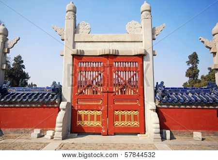 Red Wooden Gate In Temple Of Heaven, Beijing, China.