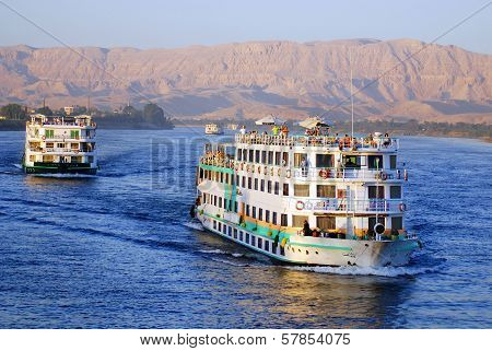Tourist boat on the Nile river