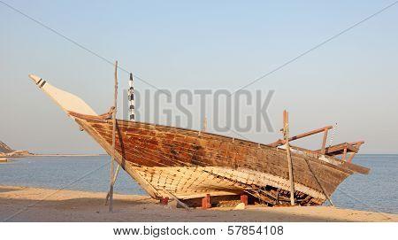 Wooden Dhow In Al Wakrah, Qatar