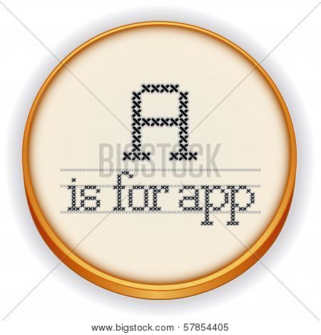 Embroidery, A Is For App, Cross Stitch Sampler, Sewing Hoop