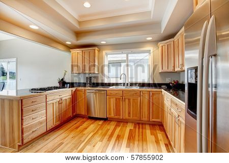 Bright Wood Kitchen With Coffered Ceiling