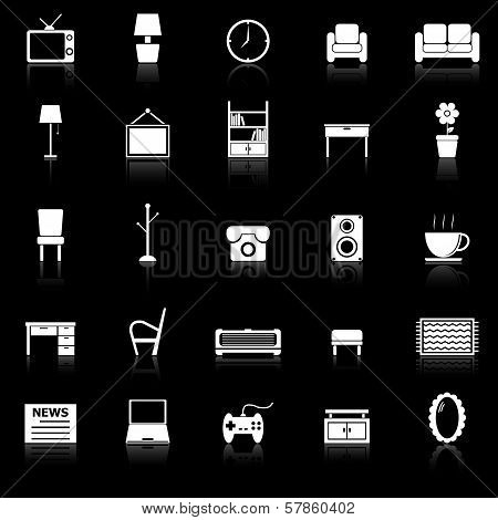 Living Room Icons With Reflect On Black Background
