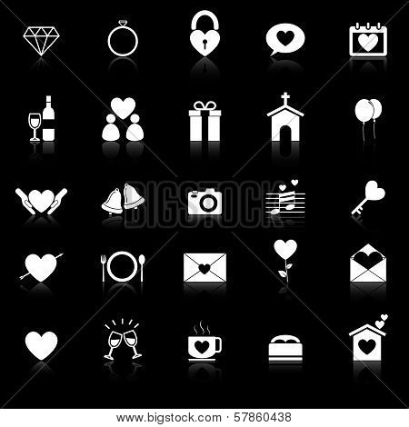 Wedding Icons With Reflect On Black Background