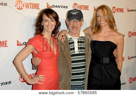 Rosemarie DeWitt with Steven Spielberg and Toni Collette  at the Premiere Screening of 'United States of Tara'. Directors Guild of America, Los Angeles, CA. 01-12-09