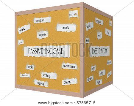 Passive Income 3D Cube Corkboard Word Concept