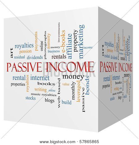 Passive Income 3D Cube Word Cloud Concept