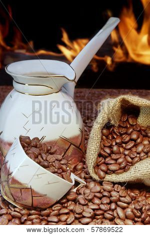 Coffee Set And Scattered Beans,  Open Fireplace In Background Xxxl