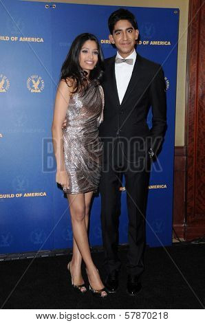 Freida Pinto and Dev Patel in the press room at the 61st Annual DGA Awards. Hyatt Regency Century Plaza, Los Angeles, CA. 01-31-09
