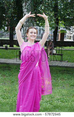 Perm, Russia - Jun 10, 2012: Happy Krishna Worshiper Dance In Square Of Ural Volunteers.